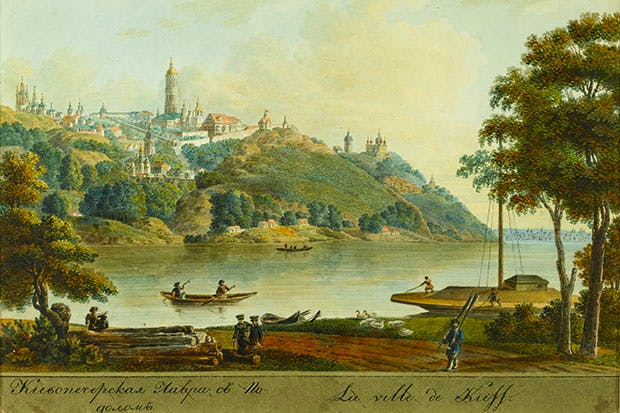 A 19th-century view of Kyiv Pechersk Lavra (Kiev's Monastery of the Caves) Russian School
