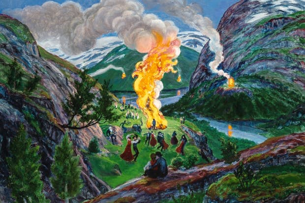 About strange lands and people: 'Midsummer Eve Bonfire', after c.1917, by Nikolai Astrup