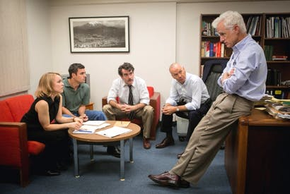 Left to right: Rachel McAdams, Mark Ruffalo, Brian D'Arcy James, Michael Keaton and John Slattery