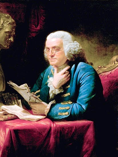 Benjamin Franklin in London, with the bust of Isaac Newton on his desk