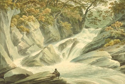 'The upper part of the cascade at Hafod' by John 'Warwick' Smith, 1793