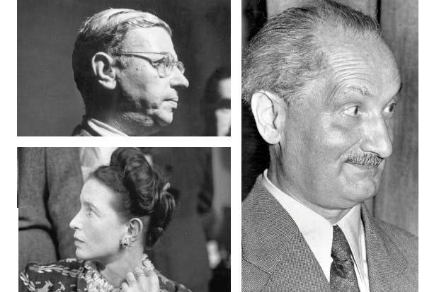 Clockwise from top left: Jean-Paul Sartre, Martin Heidegger and Simone de Beauvoir