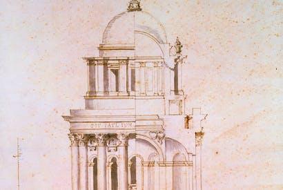 Hawksmoor's plan for a baptistery at St Paul's Cathedral