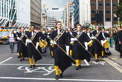 On parade: the marching band from Christ's Hospital School at the Lord Mayor's Show