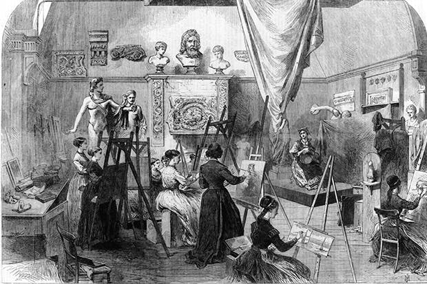 A portrait of repression? Life class at the Female School of Art, Queen's Square, London, 1868