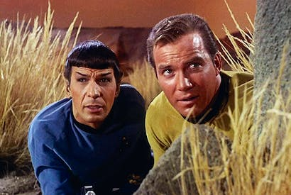 Nimoy and Shatner in 'The Man Trap', the first episode of Star Trek (September 1966)