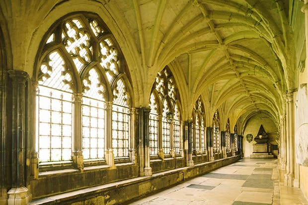 Morning glory: a walk through the abbey cloisters takes Westminster School pupils to 9 a.m. school service... and Harry to deliver his speech