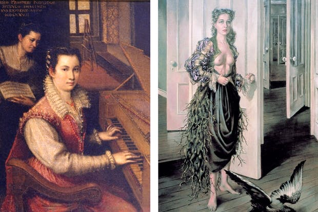 Self-portrait at the spinet by Lavinia Fontana, 1578 and 'Birthday' by Dorothea Tanning, 1942