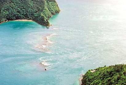 The famous rip tide in French Pass, Marlborough Sounds, New Zealand
