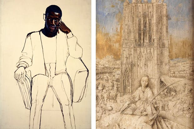 James Hunter, Black Draftee' by Alice Neel and 'Saint Barbara' by Jan van Eyck