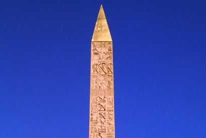 The obelisk in the Place de la Concorde. Its transport from Luxor to Paris took seven years and involved the destruction of an entire village