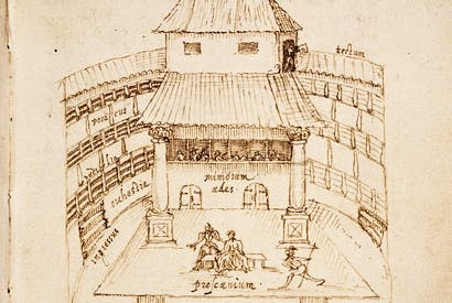 The interior of the Swan Theatre, Southwark, in 1596, based on a sketch by a Dutch traveller, Johannes de Witt, and probably the best indicator of what the Globe Theatre would have looked like.