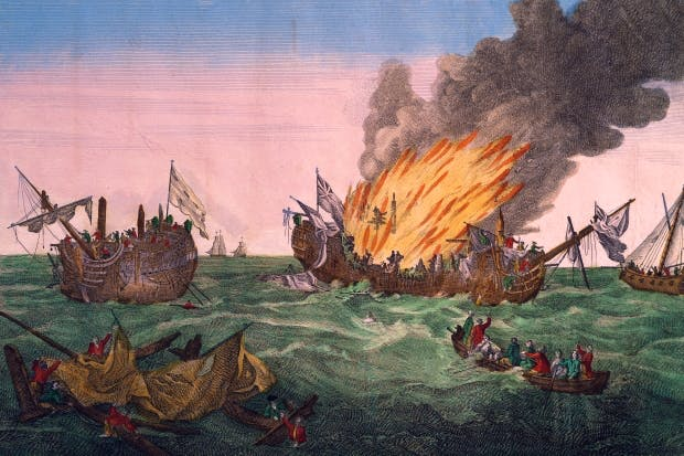 The French frigate Surveillante blows up the British frigate Quebec in a minor but famously furious engagement on 6 October 1779