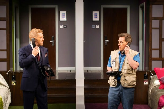 Leading the party, two brilliant showmen: Kenneth Branagh (Ralph) and Rob Brydon (Brian) in 'The Painkillers'