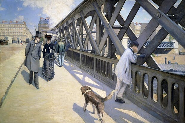 What narrative can be teased out of Gustave Caillebotte's 'The Bridge of Europe'?