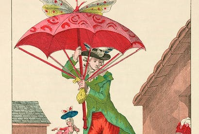 A butterfly-powered parachute gently ridicules the French obsession with flight in the late 18th century, illustrated in Gaston Tissandier's Histoire des ballons et des aéronautes célèbres: 1783–1800