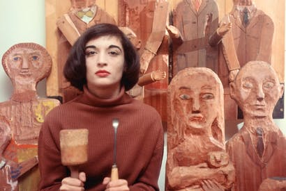 Marisol with some of her sculptures, New York, 1958