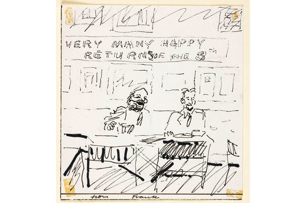 Birthday card from Frank Auerbach to Lucian Freud