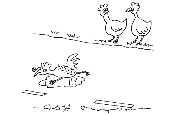 'He crossed the road to get to the other side.He got to the other side all right.'