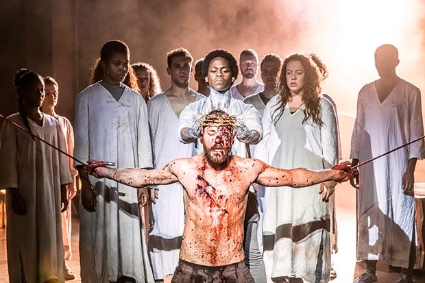 Tyrone Huntley (Judas) and Declan Bennett (Jesus) in 'Jesus Christ Superstar'