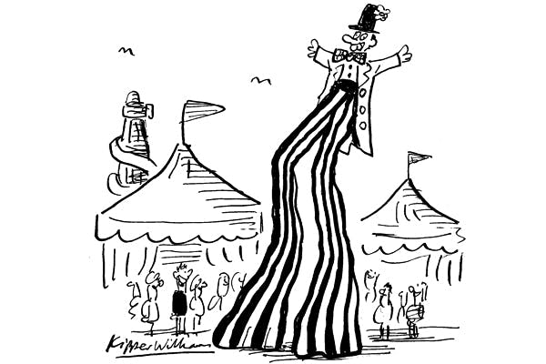 'What a performer — he's stilts on stilts!'