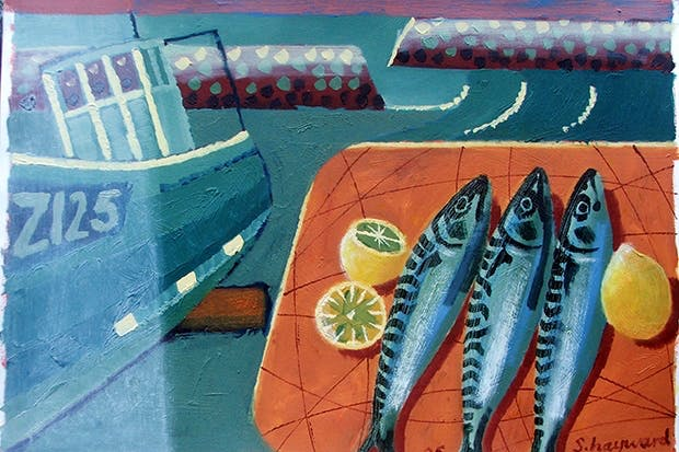 'Three Mackerel' (oil on board), Sara Hayward, private collection Bridgeman Art Gallery
