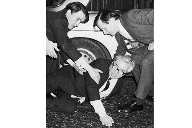 Lord George-Brown collapses outside the Palace of Westminster in 1976 after announcing his resignation from the Labour party. His fall was widely assumed to be the result of his heavy drinking