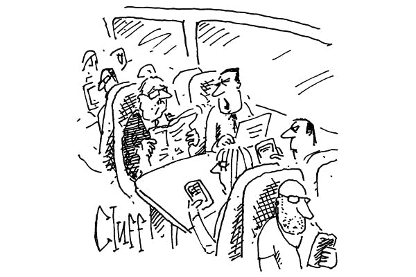 'Can you stop rustling that newspaper? This is the quiet carriage.'