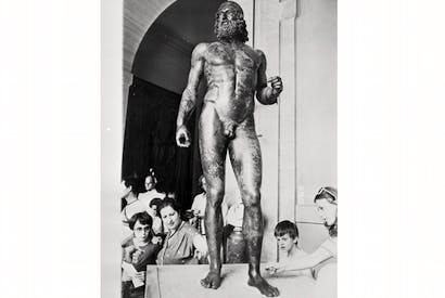 One of the two bronze statues of Greek warriors found in the sea off Riace, on display for the first time at the presidential palace in Rome, 1981