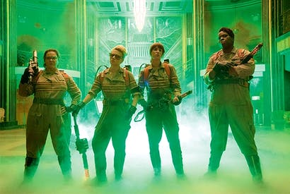 Who ya gonna call? Melissa McCarthy (Abby), Kate McKinnon (Holtzmann), Kristin Wiig (Erin) and Leslie Jones (Patty) in 'Ghostbusters'