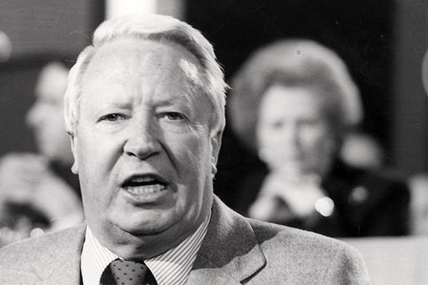 Heath addresses a Tory party conference at Blackpool, while Margaret Thatcher looks on