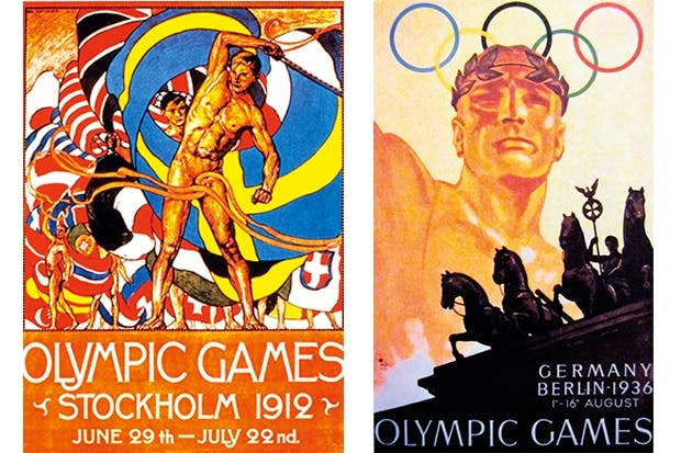Just two of many controversial Games: Hitler's racist jamboree in Berlin (above right); and the Stockholm Olympics, in which the brilliant Native American Jim Thorpe — sometimes regarded as the greatest athlete of all time — was stripped of his gold medals