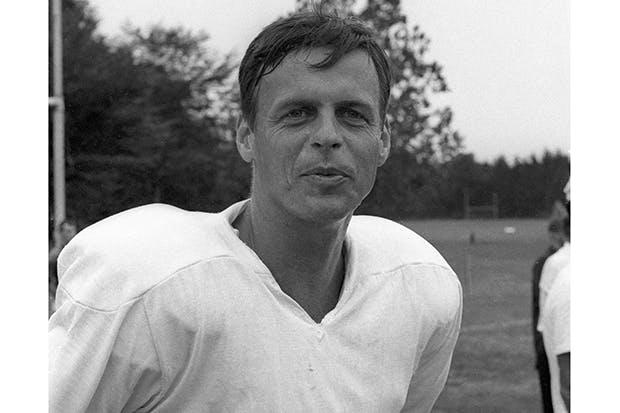 George Plimpton training with the Detroit Lions at Cranbrook Academy, Bloomfield Hills, MI (March 1963)