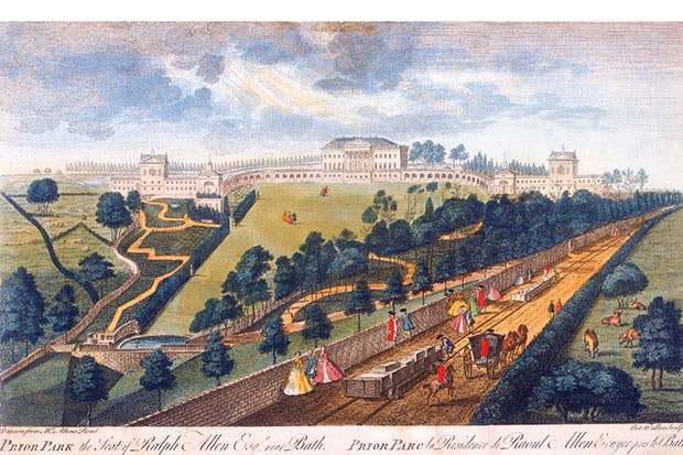 The Capability Brown-landscaped garden at Prior Park, near Bath, and the first know image of a railway line, from a drawing by Anthony Walker, 1750