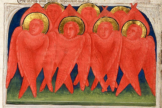 Illuminated manuscript c.1335 depicting seven fiery red seraphim, the highest order of angelic beings