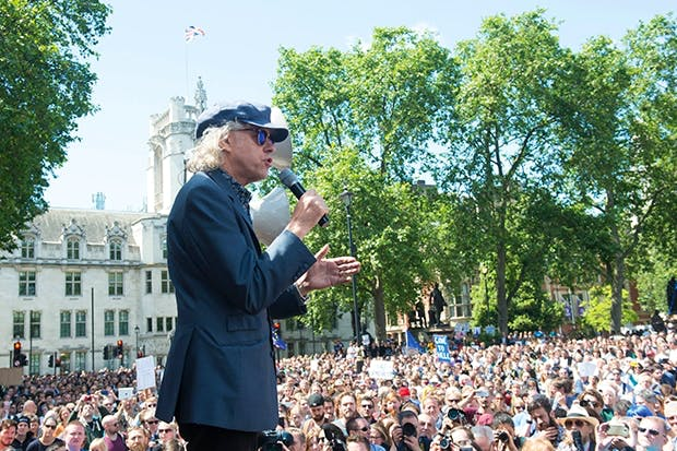 Bob Geldof addresses the March for Europe rally, 2 July 2016