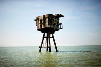 One of the Maunsell Forts at Red Sands near Whitstable: built during world war two as an anti-aircraft gun tower, it became the home of pirate radio in the 1960s