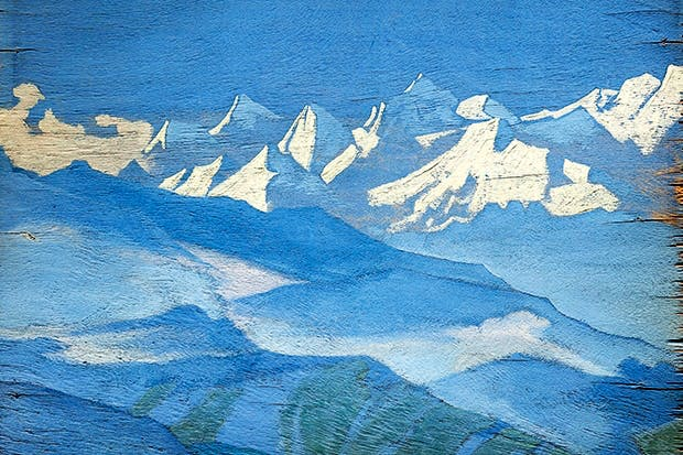Nicholas Roerich's near-Impressionistic Himalayas, painted on a wooden panel