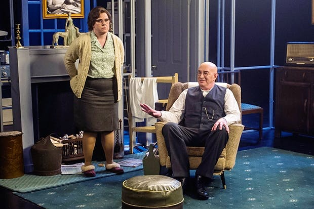 Lizzie Roper as Else and Simon Day as Alf Garnett in 'Till Death Us Do Part'