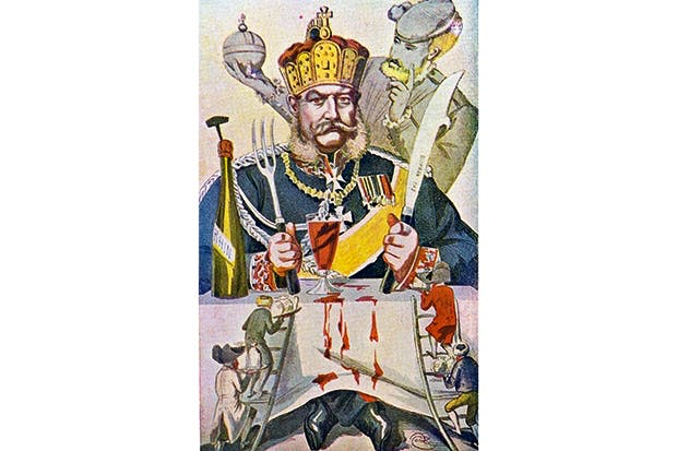 Published in France during the Siege of Paris, a caricature shows Wilhelm I carving up Europe with a knife inscribed 'Bismarck'