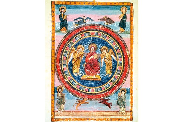 The eighth-century Codex Amiatinus, executed at Jarrow, shows Christ in Majesty with angels and the Four Evangelists (English School)