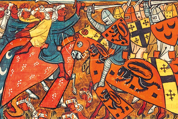 A battle between Crusaders and Muslims from 'Le Roman de Godfroi de Bouillon', French School, 14th century