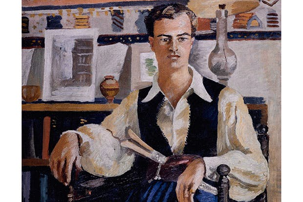 Portrait of a youthful Patrick Leigh Fermor in Cretan costume, by Adrian Daintrey (oil on canvas), Chatsworth House, Derbyshire