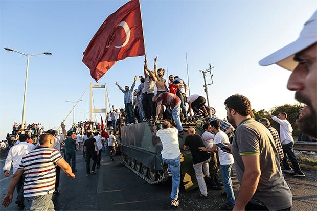 Supporters of President Erdogan in the aftermath of this summer's attempted coup