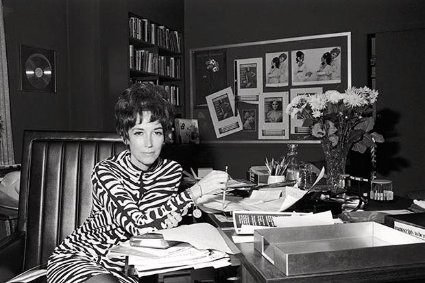 Helen Gurley Brown at her desk at Cosmopolitan c. 1965