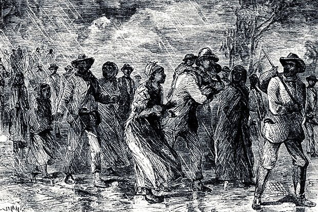 An 1850 engraving of slaves fleeing from Maryland to Delaware by way of the Underground Railroad