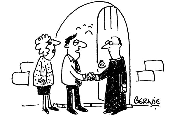 'Outstanding sermon, vicar — would you be prepared to take a drug test?'