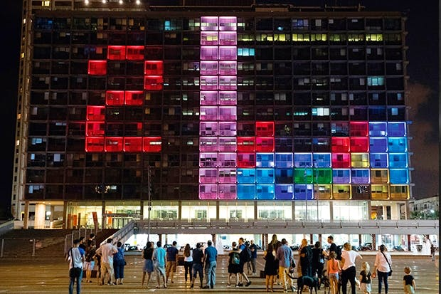 Israelis compete in a giant Tetris tournament in Rabin Square,Tel Aviv, in August