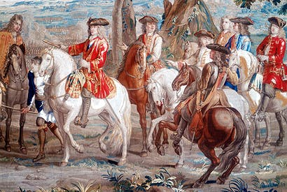 One of the famous victory tapestries shows John Churchill, 1st Duke of Marlborough, at the battle of Blenheim