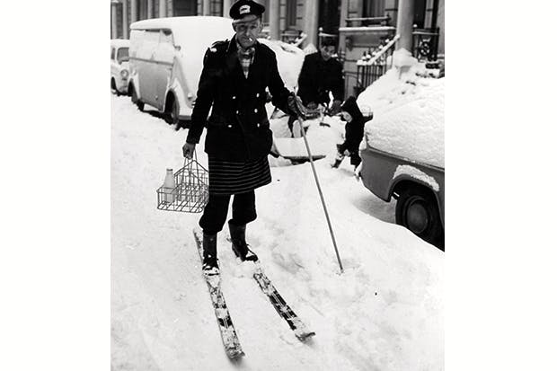 Milk delivery on skis in London during one of the bitterest winters on record, December 1962